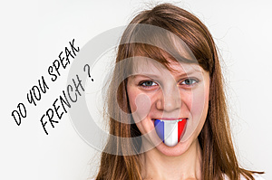 Do you speak French? Woman with flag on the tongue