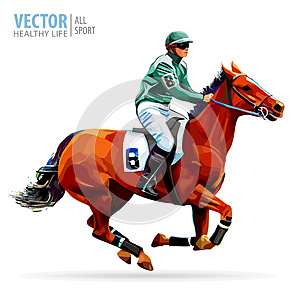Jockey on horse. Champion. Horse racing. Hippodrome. Racetrack. Jump racetrack. Horse riding. Racing horse coming first