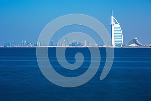 Dubai center and luxury hotels on Jumeirah beach,Dubai,United Arab Emirates