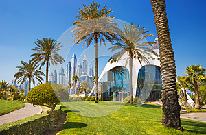 Exotic park with palms and luxury Dubai Marina skyscrapers,Dubai,United Arab Emirates