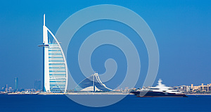 Dubai city center and luxury hotels on Jumeirah beach,Dubai,United Arab Emirates