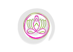 Lotus logo, woman yoga, pretty flower massage, beauty spa sense, relax nature wellness , and meditation concept design