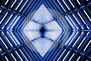 Metal structure similar to spaceship interior in blue light.