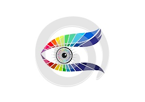 Eye care logo, optic technology, fashion glasses icon, elegant visual brand, luxury vision graphic, and contact lens concept desig