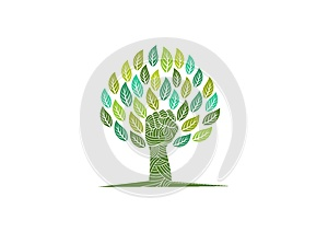 Tree care logo, revolution nature symbol, organic rebellion sign, green education and revolt healthy kids concept design