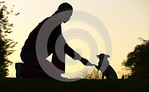Woman and Dog`s Silhouette