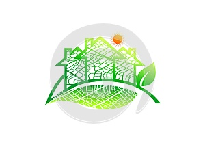 Real estate logo, home leaf icon, organic architecture sign, natural building, solar energy construction, gardening family symbol,