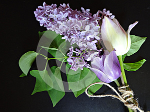 Bouquet of purple lilacs and tulips on a dark background