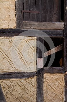 Detail of a half timbered house at the ecomusee in Alsace