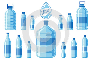 Plastic water bottle set isolated on white background. Healthy agua bottles vector illustration