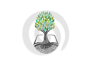 Tree knowledge,book logo,natural,learning,icon,healthy,symbol,plants, school,garden, open books,organic,landscape and education co