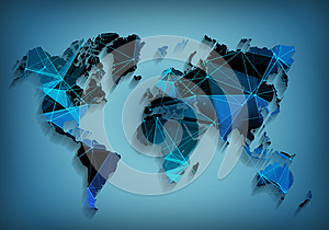 Global world map network technology. Social communications