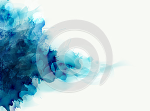 Blue watercolor big blot spread to the light background. Abstract composition for the elegant design.