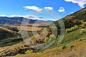 View of scenic Lees Valley in New Zealand