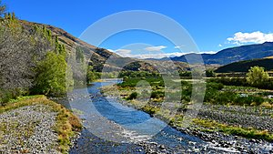 River flowing through scenic Lees Valley in New Zealand