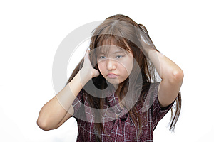 Asian woman scratching itchy head with frustrate face expression