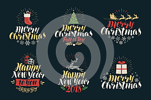 Merry Christmas and Happy New Year, label set. Xmas icons or logos. Lettering vector illustration