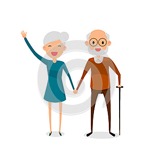 Happy grandparents holding hands standing full length smiling with walking stick. Retired elderly senior age couple.