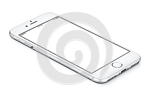 White iphone smartphone mockup CCW rotated lies on the surface.