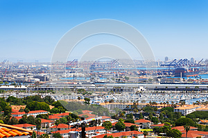 Long Beach city, marina and shipping port, USA