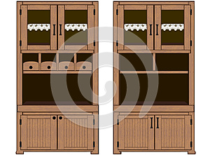 Vector: Detailed illustrated cupboards set with drawers, napkins, buffet doors,...