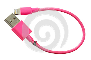 Broken smart phone charger pink USB cable isolated on white back