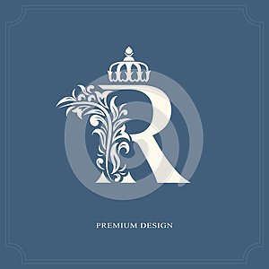 Elegant letter R with a crown. Graceful royal style. Calligraphic beautiful logo. Vintage drawn emblem for book design, brand name