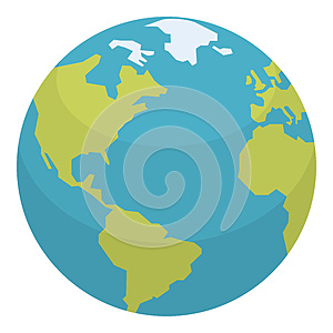 Planet Earth Flat Icon Isolated on White