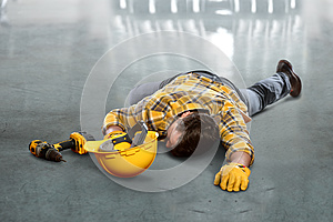 Injured Worker Laying on Floor