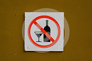 No alcohol sign on wall