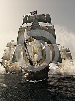 Front view of a pirate ship fleet piercing through the fog.