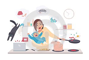 Busy mother with baby, multitask woman. Motherhood, cartoon flat illustration.