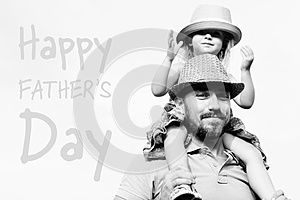 Adorable daughter and father portrait, Father`s day concept