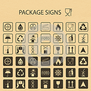 Vector packaging symbols on cardboard background. Shipping icon set including recycling, fragile, the shelf life of the pro