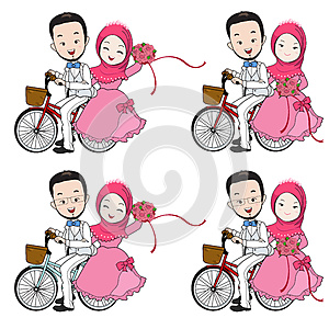 Muslim wedding cartoon, bride and groom riding bicycle with flow