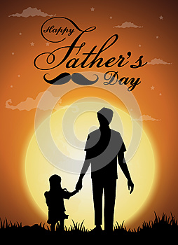 Happy Father`s Day, silhouette of a father holding Daughter.full moon background