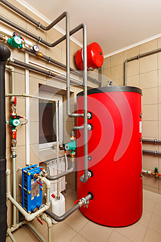 Household boiler house with heat pump, barrel; Valves; Sensors a
