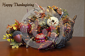 Thanksgiving cornucopia arrangement plus sign