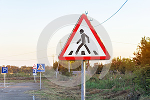 Pedestrian crossing alert traffic sign, various road signs, driving school training ground