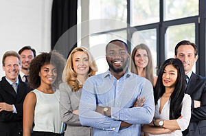 African American Businessman Boss With Group Of Business People In Creative Office, Successful Mix Race Man Leading