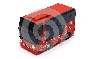 Red Toy Bus with a Happy Face