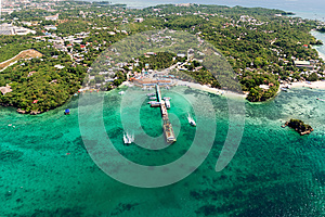 Aerial view of beautiful bay in tropical Islands. Boracay Island