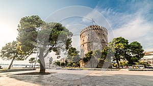 White Tower of Thessaloniki, captured with fisheye lens