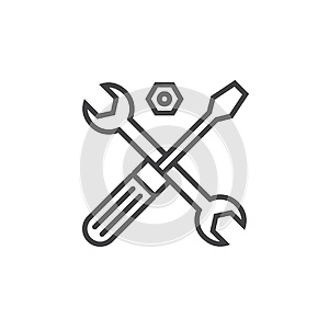 Technical support symbol. Tools line icon, outline vector sign,
