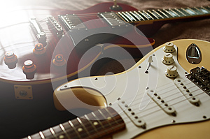Electric guitar macro abstract