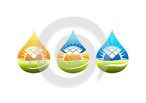Solar energy logo, windmill symbol, pumb water power icon and natural electric concept design