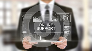 Online Support, Hologram Futuristic Interface Concept, Augmented Virtual Reality