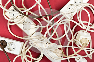 Cable chaos clutter from multiple electric wire extension cords