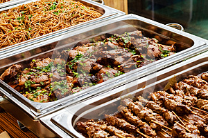 Catering Buffet Asian Food Dish with Meat