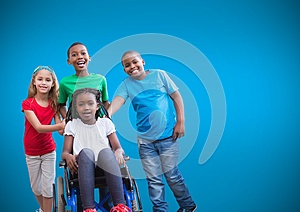 Disabled girl in wheelchair with friends and blue background